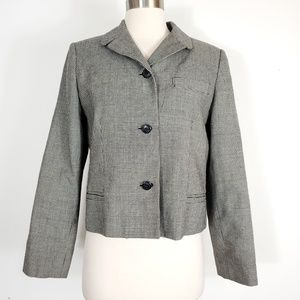 Vintage wool houndstooth plaid cropped blazer
